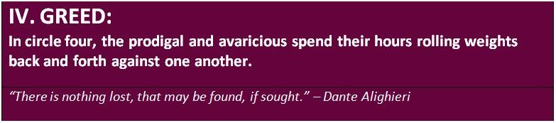 The fourth level in Dante's underworld - greed