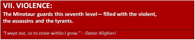 The seventh level in Dante's underworld - violence