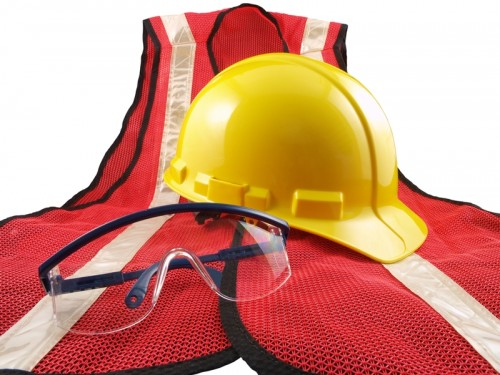 Hard hat and goggles