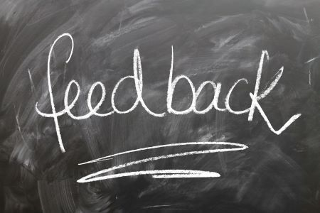 Feedback written on chalkboard