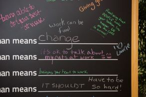 Chalk board with writing