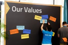 Bulletin board with values