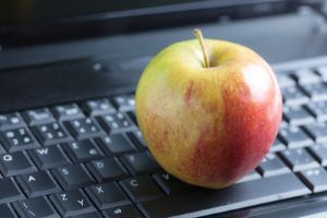 Apple on a keyboard