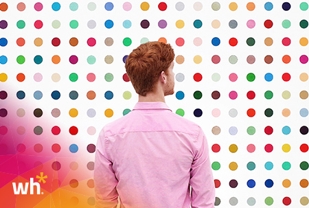 person looking at dots