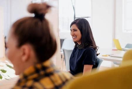 Woman smiling at work