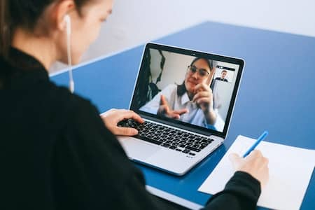 woman on digital meeting
