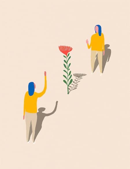 illustrated image of two people waving hello