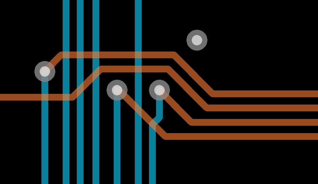 Screenshot of PCB Manhattan trace routing