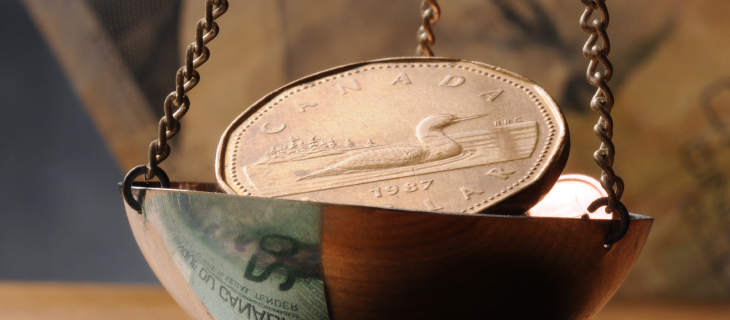 Hanging copper bowl holding a Canadian dollar looney.