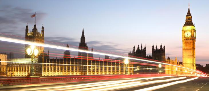 Long exposure photo of the Palace of Westminster