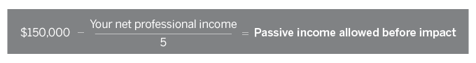 Formula: $150,000 – (your net professional income / 5) = Passive income allowed before impact