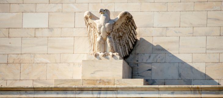A statue of a bald eagle.