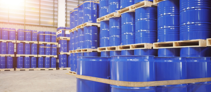 A room filled with blue aluminum containers.