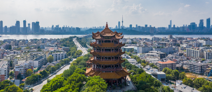 A panoramic city view of China's buildings.