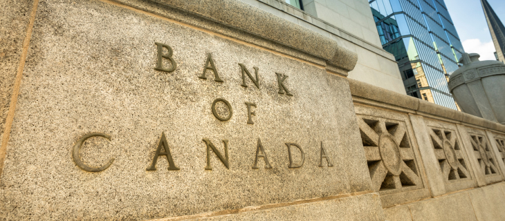 A wall engraved with the bank of canada on the front.