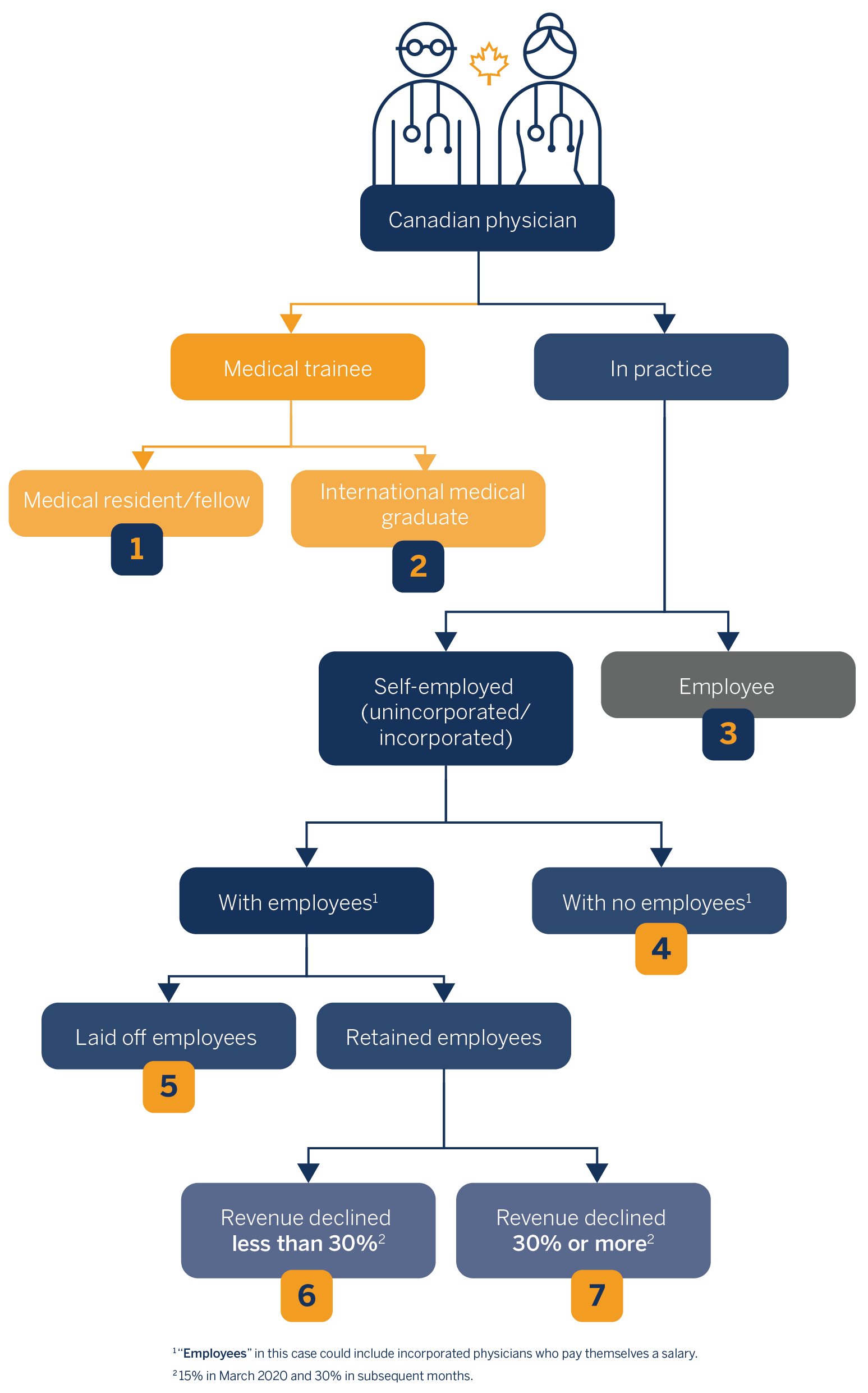 This flow chart shows the different scenarios for Canadian physicians. It first branches out to medical trainee and in-practice. From in-practice, it branches out to self-employed (unincorporated and incorporated) and employee, and so on.