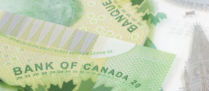 Green paper Canadian money with Bank of Canada signature and the number twenty below it.
