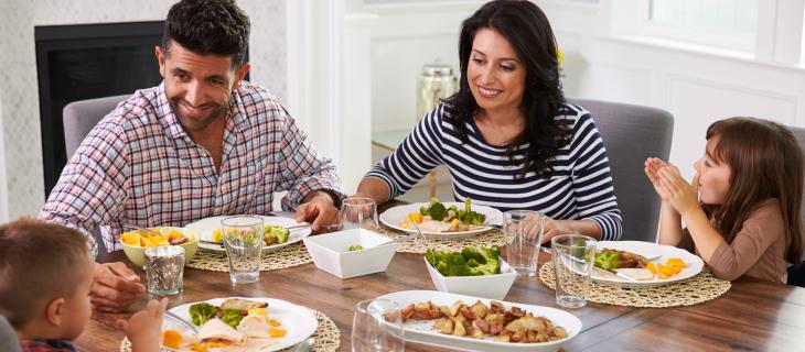 A family eating dinner.