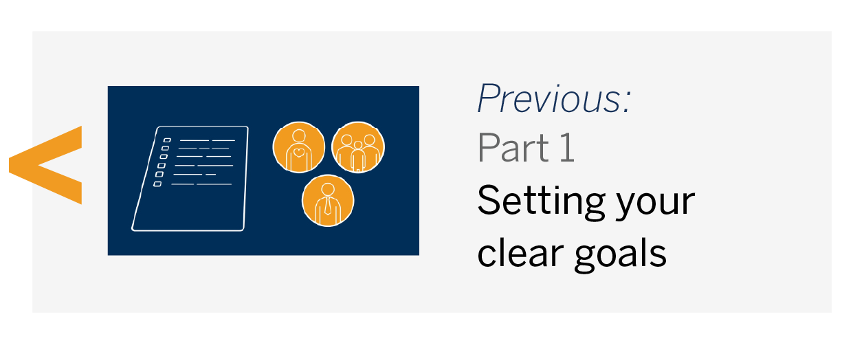 PREVIOUS: Part 1 – Setting clear goals
