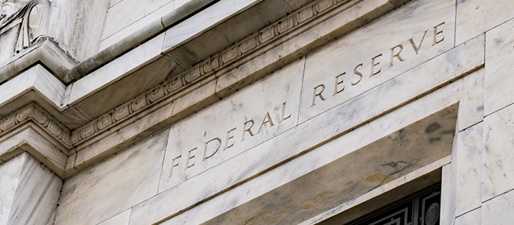 The entrance of the federal reserve building.