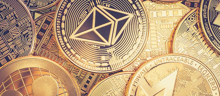 Golden crypto coins.
