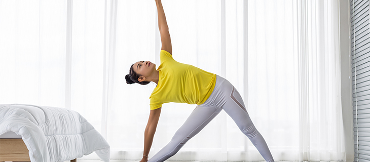 A woman doing excercise.