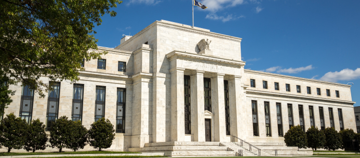 Front view of the federal reserve building of the United-States.