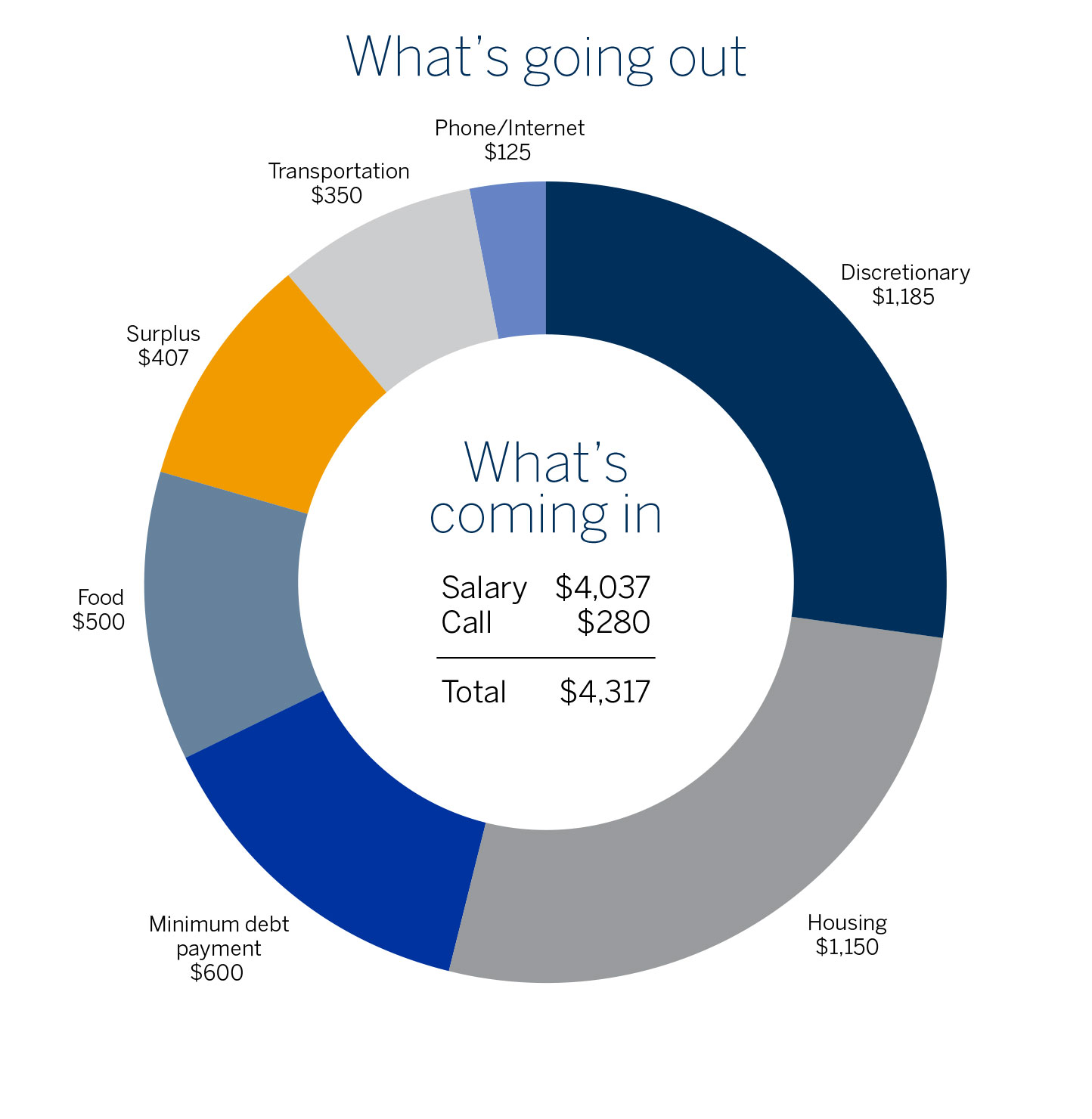 A donut chart showing various expenses (housing, debt payment, food, transportation, phone/internet, discretionary) and what's left over