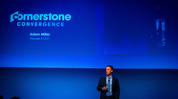 Adam Miller on stage at the Convergence EMEA 2018