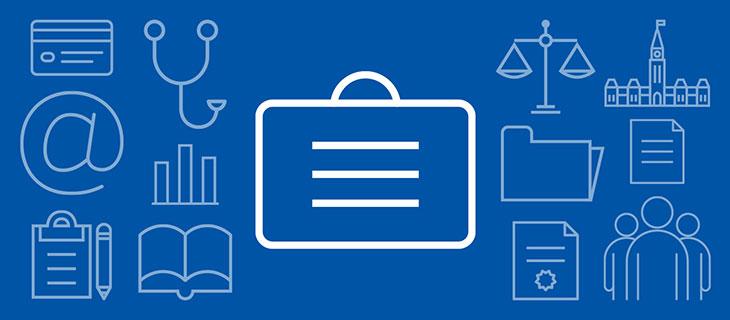 Iconographe de onze symboles de médecin en bleu et blanc.