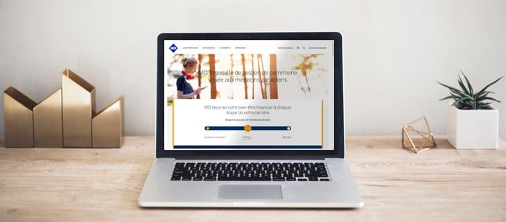 Portable avec le site web the Md financière en vue.
