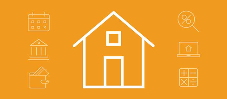 Iconographie: une maison, un calendrier, un signe de pourcentage, un portefeuille, un ordinateur portable et un signe mathématique.