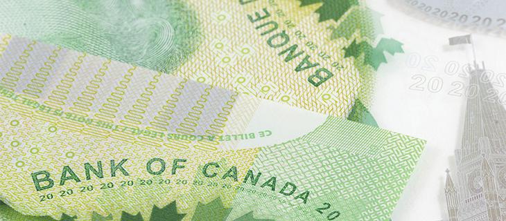 Argent vert canadien démontrant la signature de la Banque du Canada.