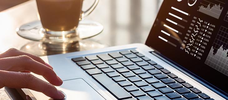 Une personne sur un ordinateur portable qui regarde les statistiques sur son écran.