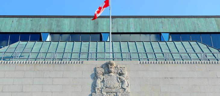 L'extérieur de l'édifice de la banque du Canada.