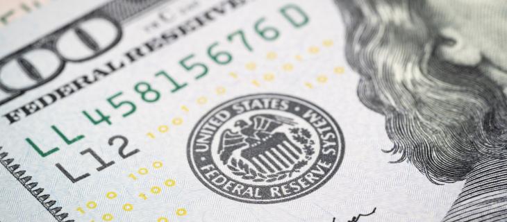 Etampes de la réserve fédérale des Etats-Unis sur argent en papier américaine.