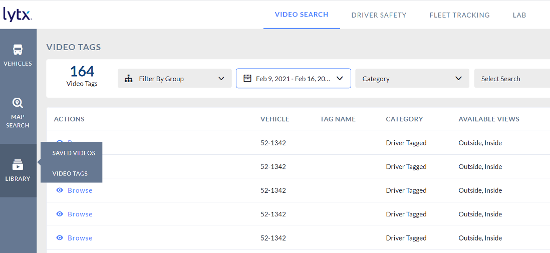 video search driver tagged events