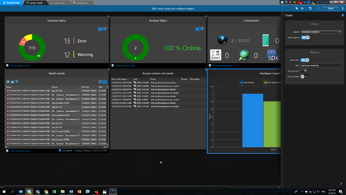 Security Center 5.8 live dashboards