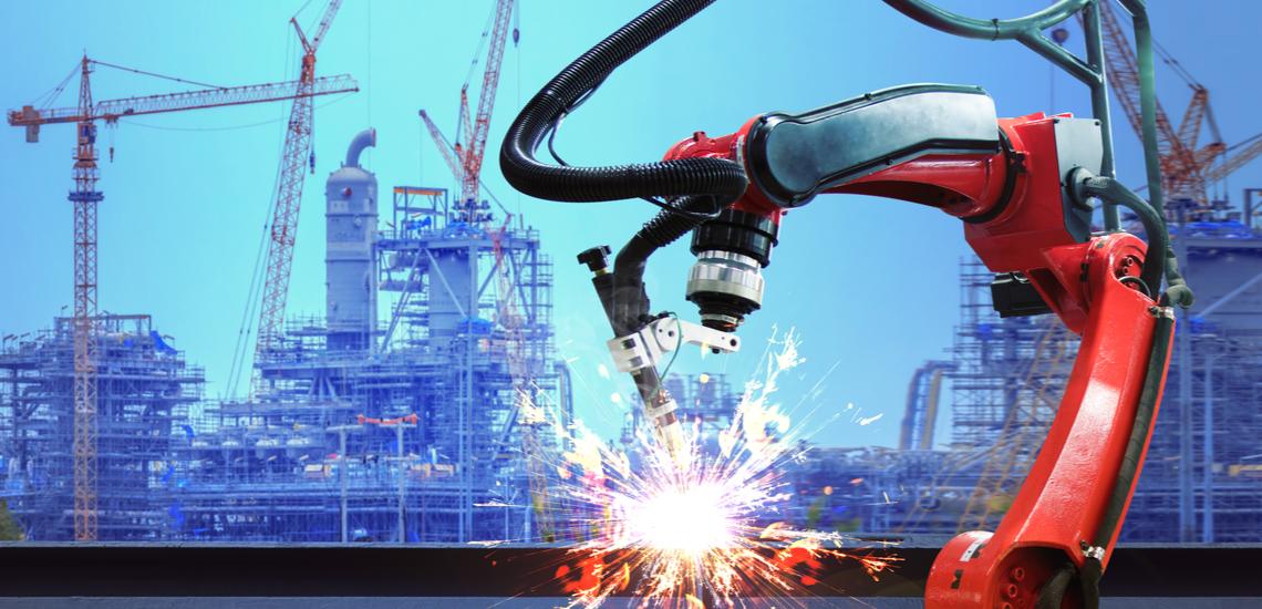 Welding robot arm on jobsite