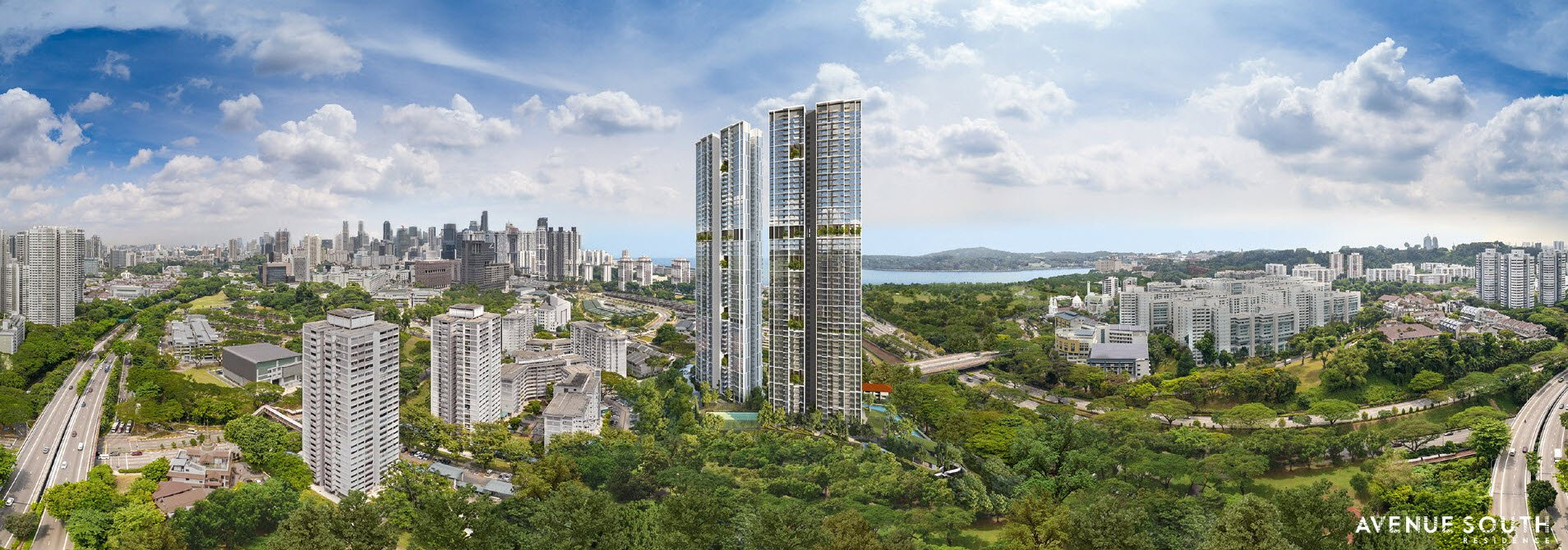 Rendering of Avenue South Residence Silat Avenue Condo  against the Singapore skyline