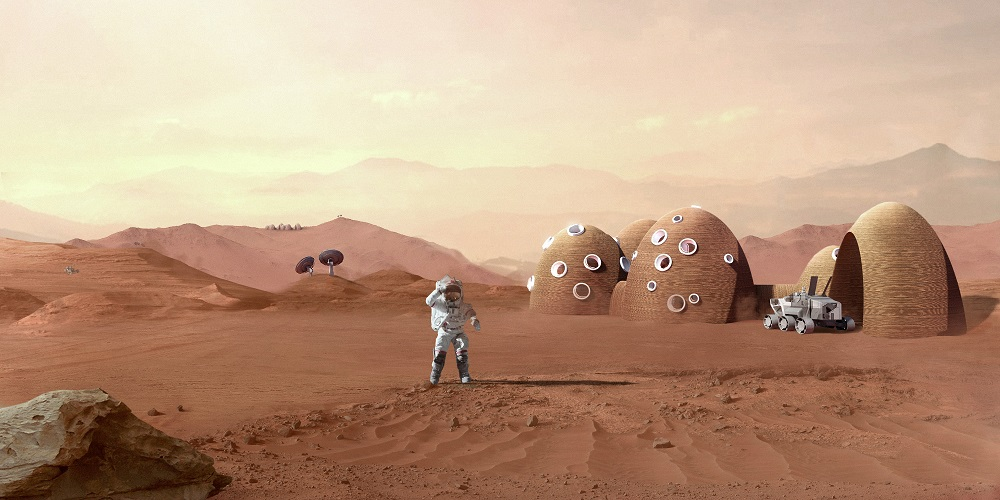 llustration of a Mars habitat concept developed by the Colorado School of Mines and ICON for NASA's 3D-Printed Habitat Challenge