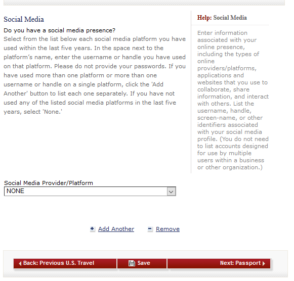 Screenshot of displays the new social media question. Photo courtesy of Rene Cousins, attorney at Global Immigration Associates.