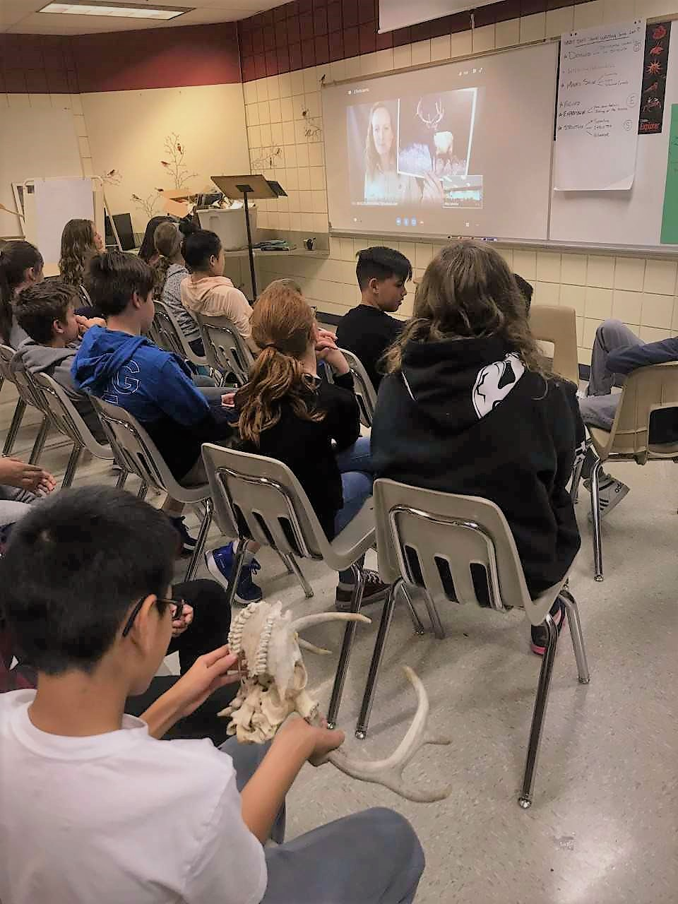 A student from Mike's class holds an animal skull while they conduct their Skype Virtual Field trip to Yellowstone National Park