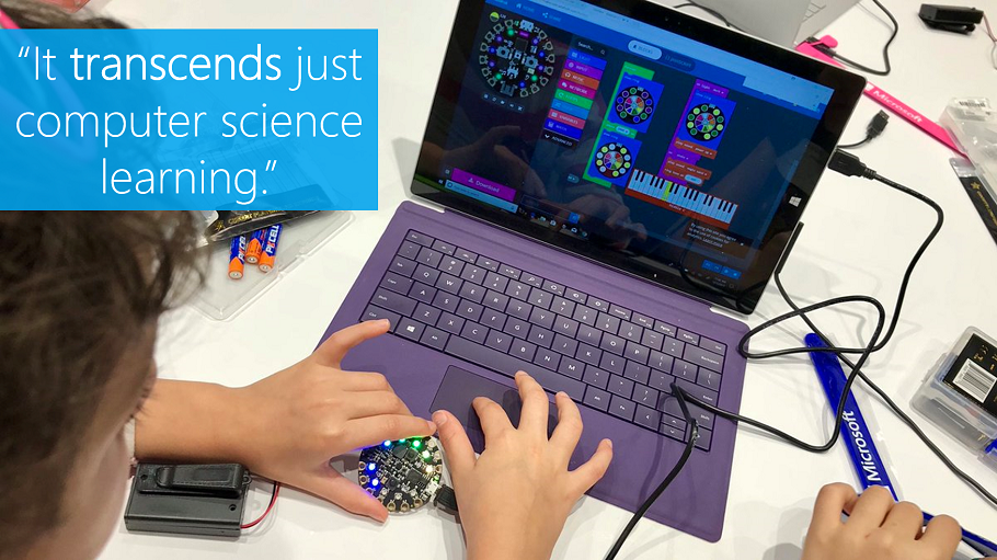"""It transcends just computer science learning."" A student works with an Adafruit device in conjunction with Microsoft's MakeCode resources"