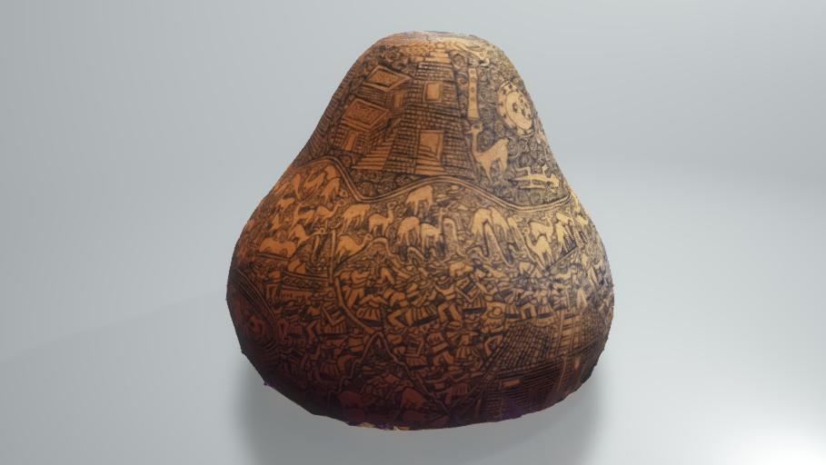 A 3D image of an art gourd