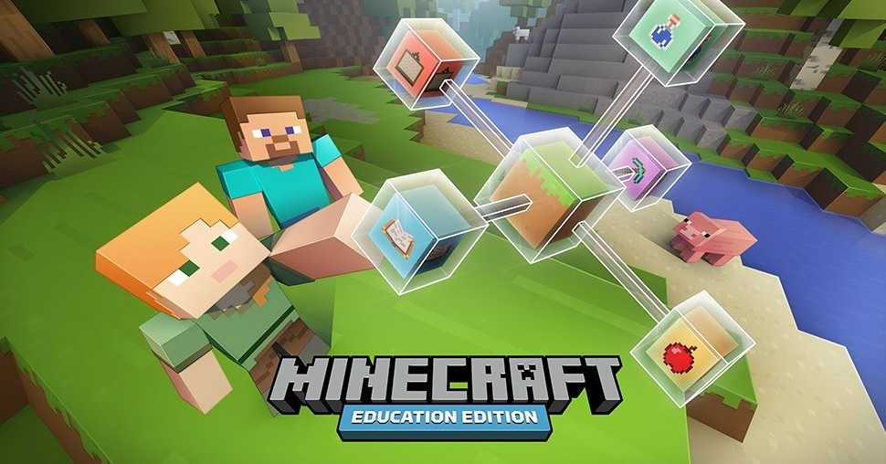 """Two Minecraft characters, with the """"Minecraft: Education Edition"""" logo"""