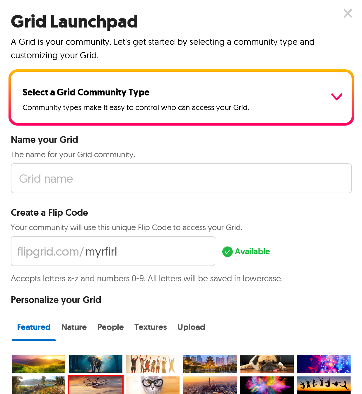 A screen-capture of the Flipgrid Grid Launcher