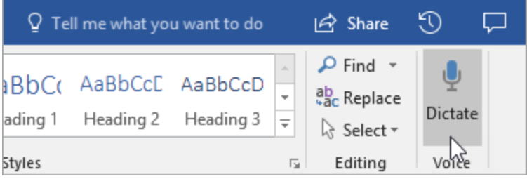 The Microsoft Word toolbar featuring the Dictate button