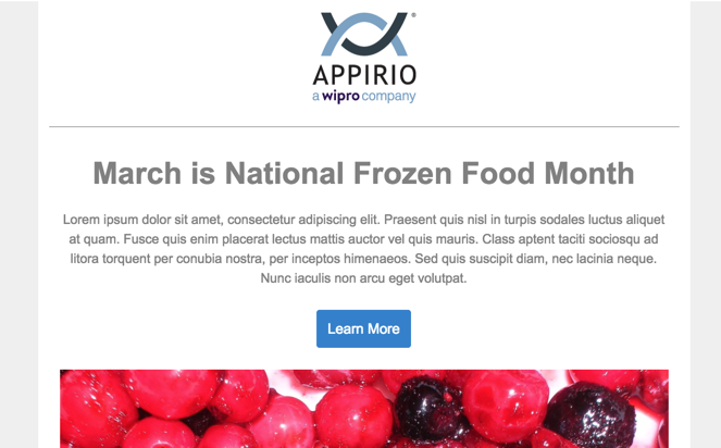 Code-free dynamic email with March is National Frozen Foods Month Headline