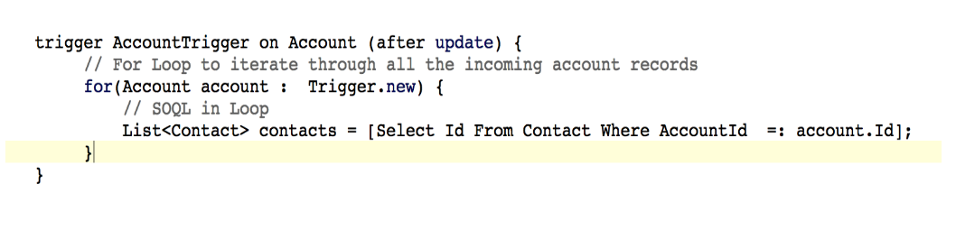 An incorrect apex code example in Salesforce to demonstrate the importance of code review